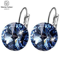 Warme Farben Anting-Anting untuk Wanita Dibuat dengan Swarovski Crystal Round Batu Drop Anting-Anting Perak 925 Perhiasan Anting-Anting Hadiah untuk Lady