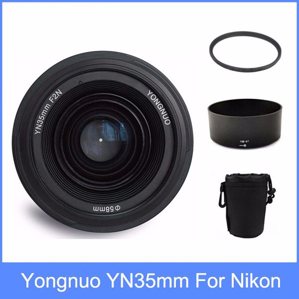 Yongnuo yn35 YN35mm F2 objektiv weitwinkel Große Blende Fest Auto Fokus Objektiv + Objektiv Haube + objektiv tasche + 58mm UV filter Für Nikon