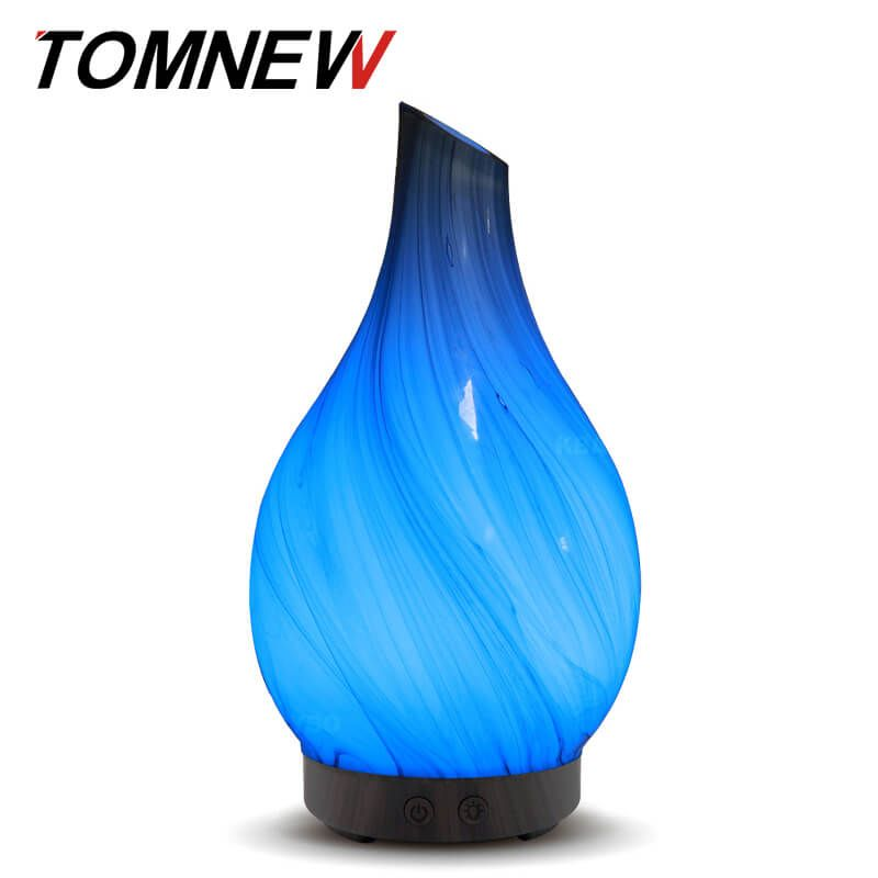 TOMNEW 100ml Aromatherapy Ultrasonic Essential Oil Diffuser Glass Aroma Diffuser Cool Mist Humidifier LED Light Home Office Yoga