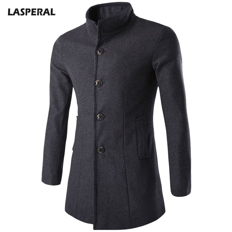 LASPERAL 2017 Mens Overcoat Business Wool & Blends Coat Men Turn-down Collar Middle Long Male Jackets Buttons Windproof Laine