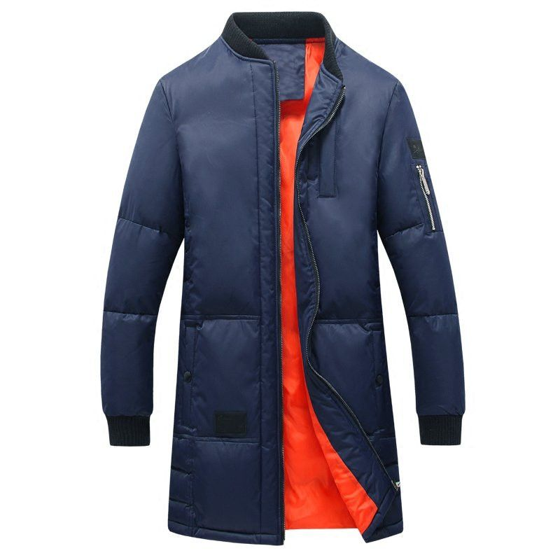 2017 Warm Padded Long Jackets Casual Stand Collar Slim Fit Long Thicken Winter Puffer Coat Men Parka Fashion Overcoat Outerwear