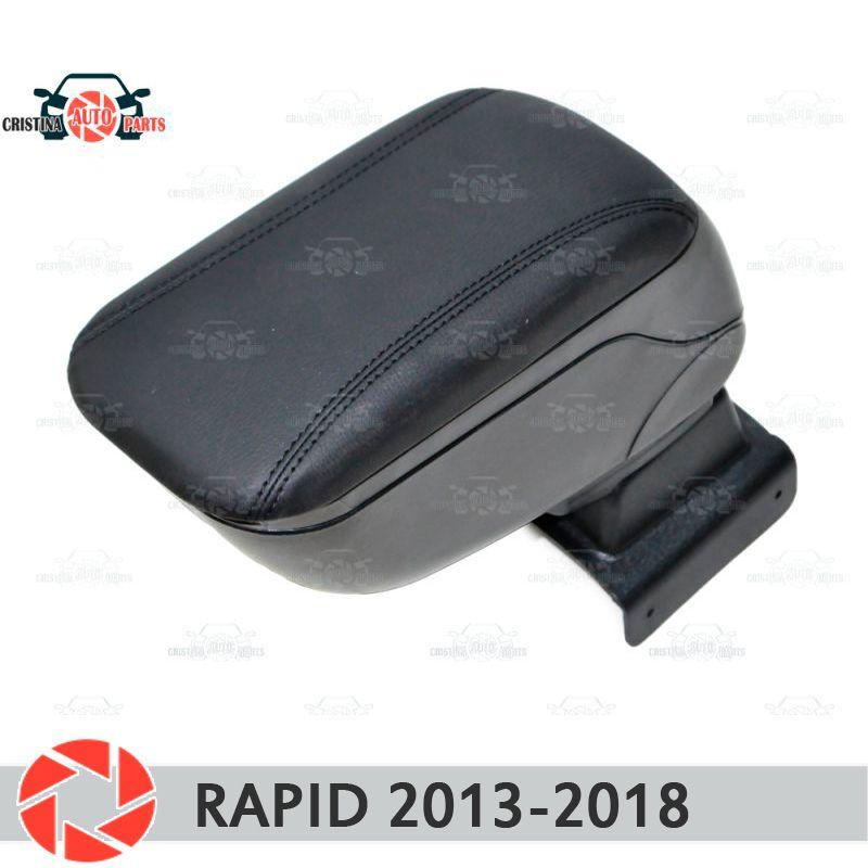 Für Skoda Schnelle 2013-2018 auto armlehne zentrale konsole leder lagerung box aschenbecher zubehör auto styling