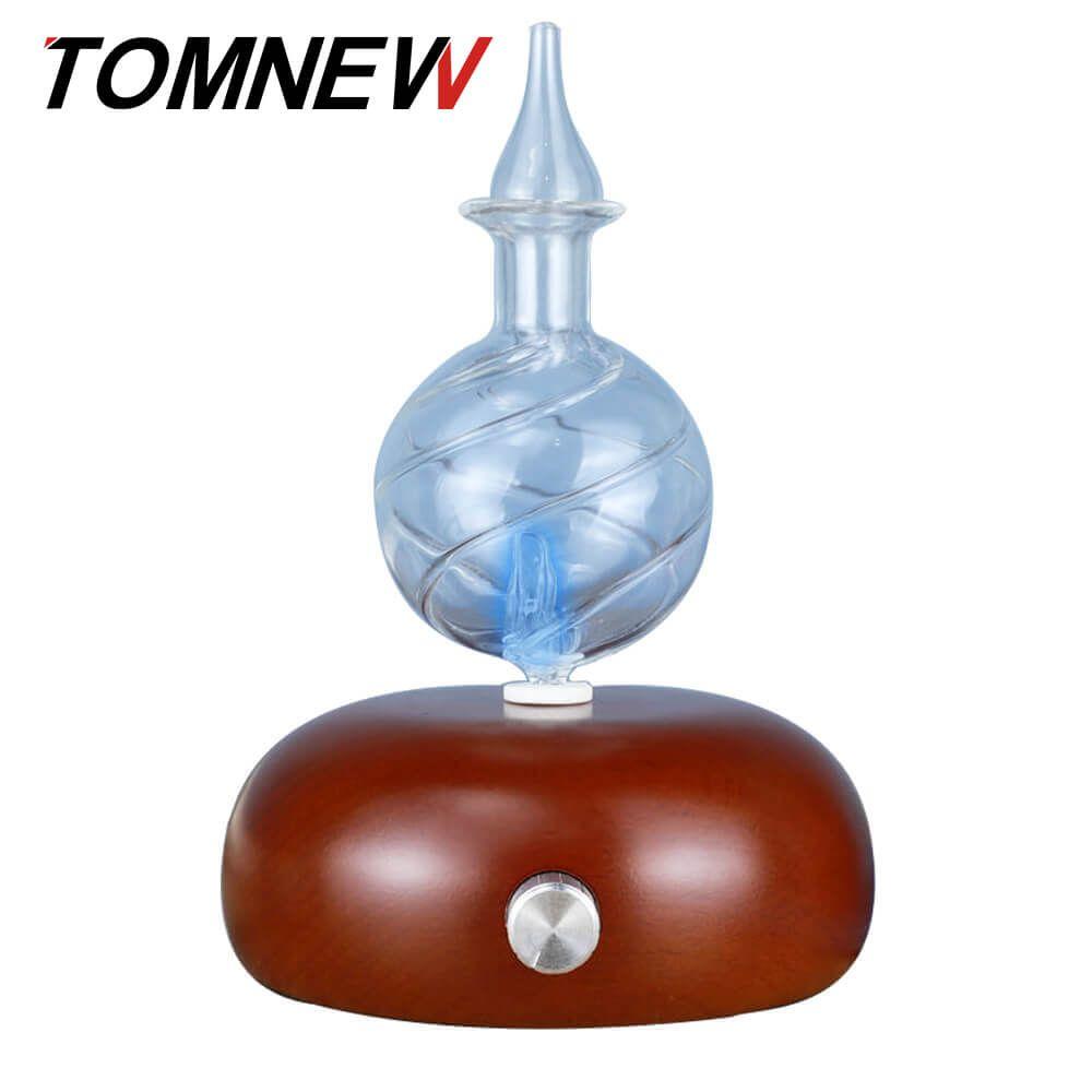 TOMNEW Glas Weihrauch Aromatischen Maschine Holz Aroma Aromatherapie Fogger Nebel Maker Ätherisches Öl Diffusor mit 7 Farben LED Licht