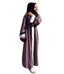 Mujeres Musulmanas moda Encaje robe larga impresión señoras mujeres árabes de las señoras abayas musulmanes Albornoces