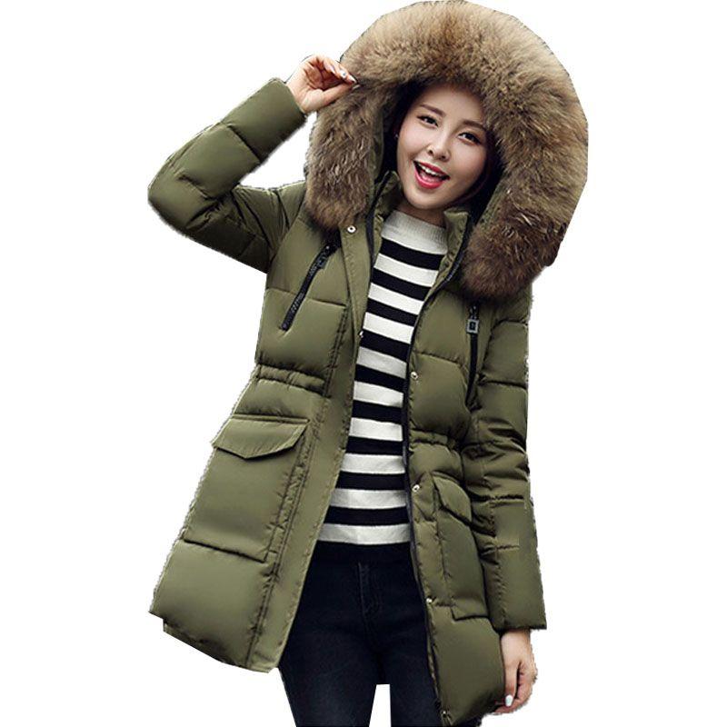 2017 Women Winter Warm Faux Fur Collar Hooded Long Sleeve Zipper Cotton Down Padded Puller Jacket Casual Long Coat Parka Outwear