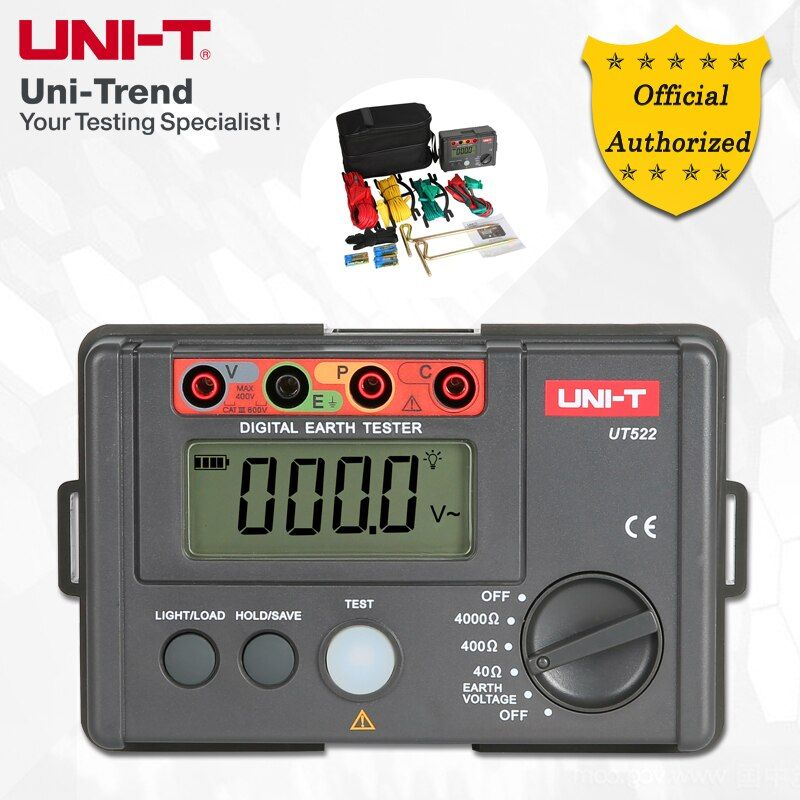 UNI-T UT522 Earth Resistance Tester; Simple 2-Wire Testing/Precision 3-Wire Testing, Data Logging, Low Battery Indication