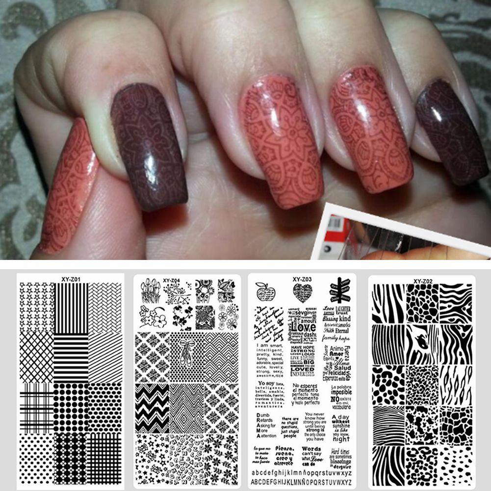 Модные узор Дизайн ногтей Польский штамповка Таблички Шаблоны Для женщин Маникюр Инструмент