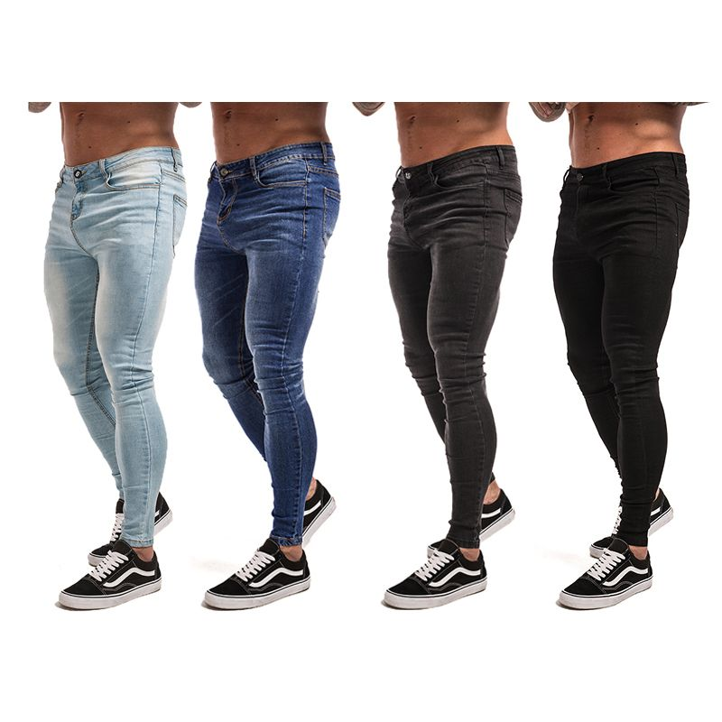 Gingtto Skinny Jeans For Men Black Streetwear Hip Hop Stretch Jeans Hombre Slim Fit Fashion Biker Ankle Tight Dropshipping zm01