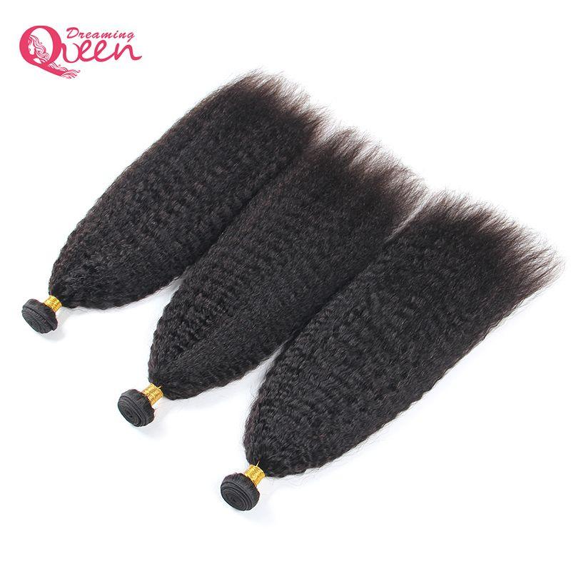Brésilienne Kinky Cheveux Raides Armure 3 Bundles 100% de Cheveux Humains Grossier Yaki Remy Cheveux Naturel Noir Rêver Reine Cheveux Produits