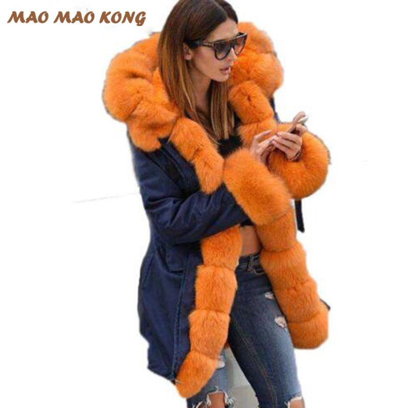 2017 frauen echtpelz parka winter warme natürliche große fuchspelz mantel mit luxus rex kaninchen pelz liner armee grünen camouflage jacke
