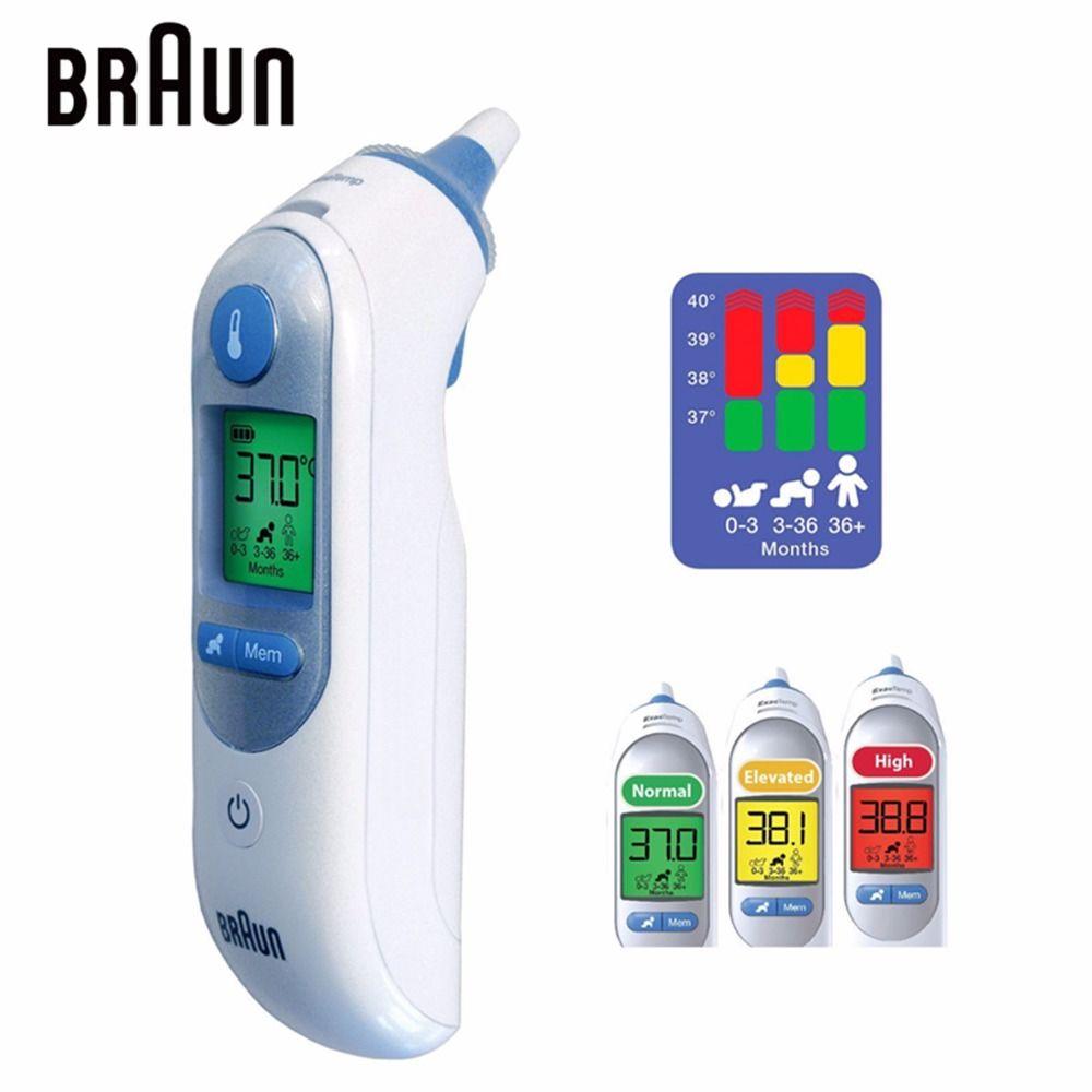 Braun Luminous Thermometer IRT6520 Temperature Meter Precision Ear Thermometers Family Digital Monitors Baby Health Care