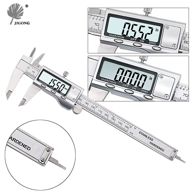 JIGONG 0-150mm/6 boîtier en métal numérique pied à coulisse calibre micromètre