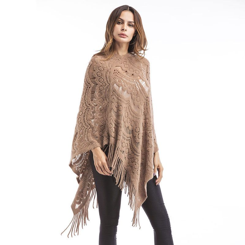 Women Oversized Sweaters Solid Tassel Batwing Sleeve Midi Pullovers Sweater Womens Cape Ponchoes Knitwear Sudadera Knitted Shawl