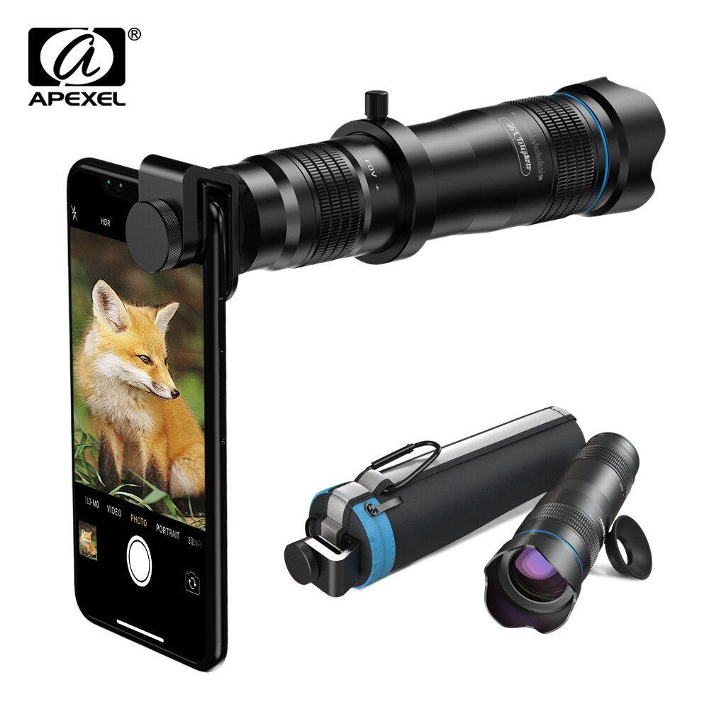 APEXEL 36X téléphone caméra lentille télescope objectif téléobjectif Zoom HD monoculaire + selfietrépied avec obturateur à distance pour tous les Smartphones