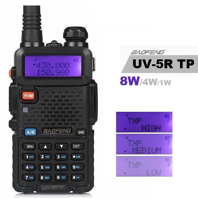 Baofeng UV-5R TP 8W haute puissance VHF/UHF 136-174/400-520MHz double bande FM véritable bidirectionnel jambon Radio talkie-walkie écouteur UV-5RTP