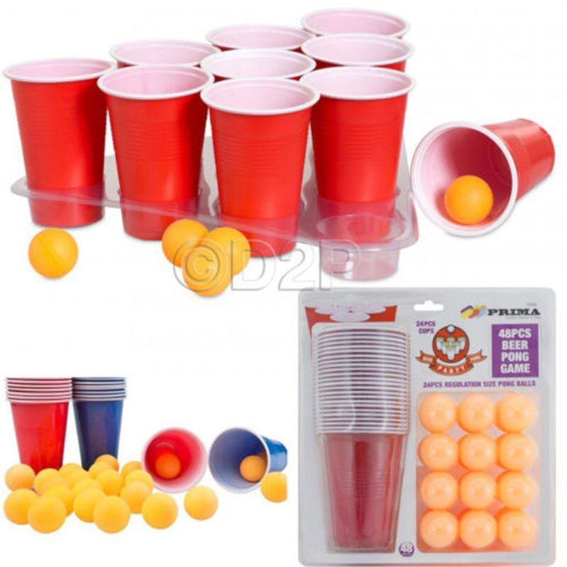 1 Set Entertainment Fun Party Drinking Game Party Game Drin king Toy Board Game Beer Pong Kit 24 Pong Balls and 24 Red Cups