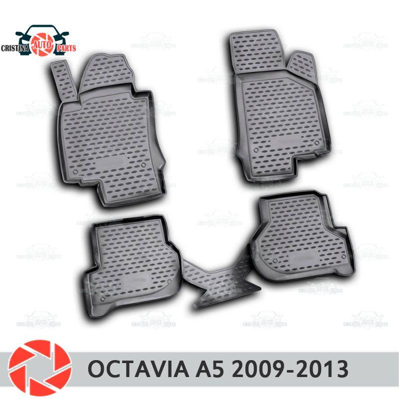 Für Skoda Octavia A5 2009-2013 fußmatten teppiche non slip polyurethan schmutz schutz innen auto styling zubehör