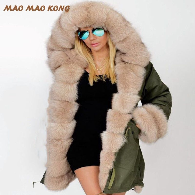 2018 new winter women real fur parka warm natural large fox fur collar with luxury rex rabbit fur liner army green camouflage