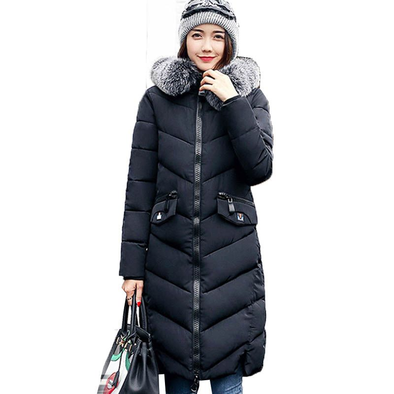 2017 Fashion Women Faux Fur Hooded Long Sleeve Zipper Pockets Down Cotton Outerwear Winter Warm Casual Long Coat Jacket Parkas