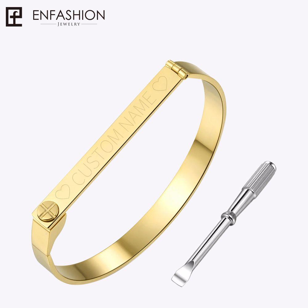 Enfoudre Personnalisé Gravé Nom Bracelet Or Couleur Bar Vis Bracelet Amoureux Bracelets Pour Femmes Hommes Manchette Bracelets Bracelets