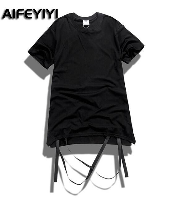 AIFEYIYI Men's Short Sleeve 2018 tide brand new solid color removable streamers shirt men's T-shirt multi-color tide
