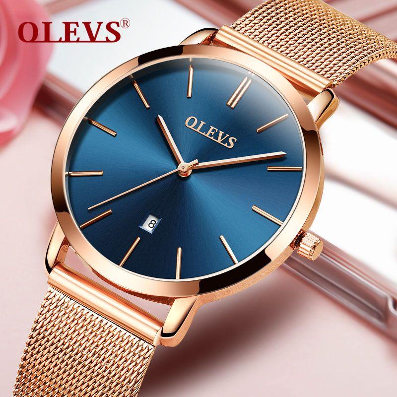 Montre femme 2018 marque de luxe femmes or Rose montres en acier inoxydable Date automatique Ultra mince Quartz montre-bracelet dames montre bleu