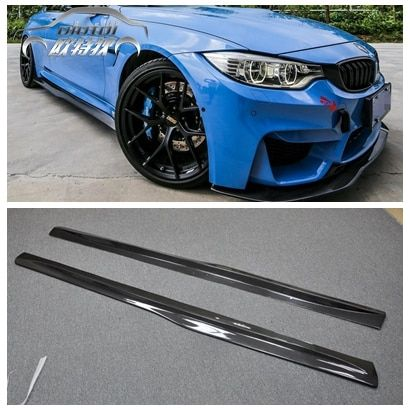 PSM Style Car Styling Top Quality F80 F82 F83 carbon fiber Extend Side Skirts M3 M4 bodykit for BMW side surrounded accessories