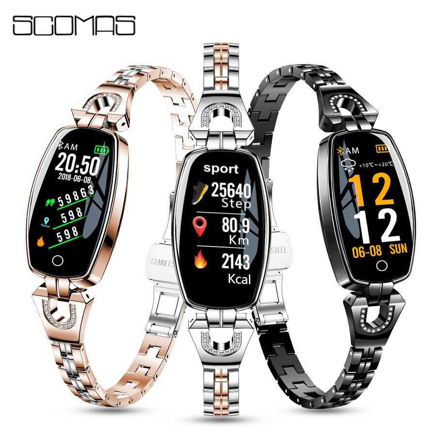 SCOMAS Newest Fashion Women Smart Watch Heart Rate Monitor Bluetooth 4.0 Fitness Smartwatch Reloj Inteligente For IOS Android