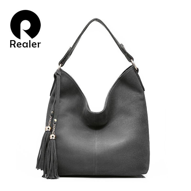 REALER handbag for women large totes female solid nubuck leather shoulder crossbody bag ladies messenger bags top-handle Hobo