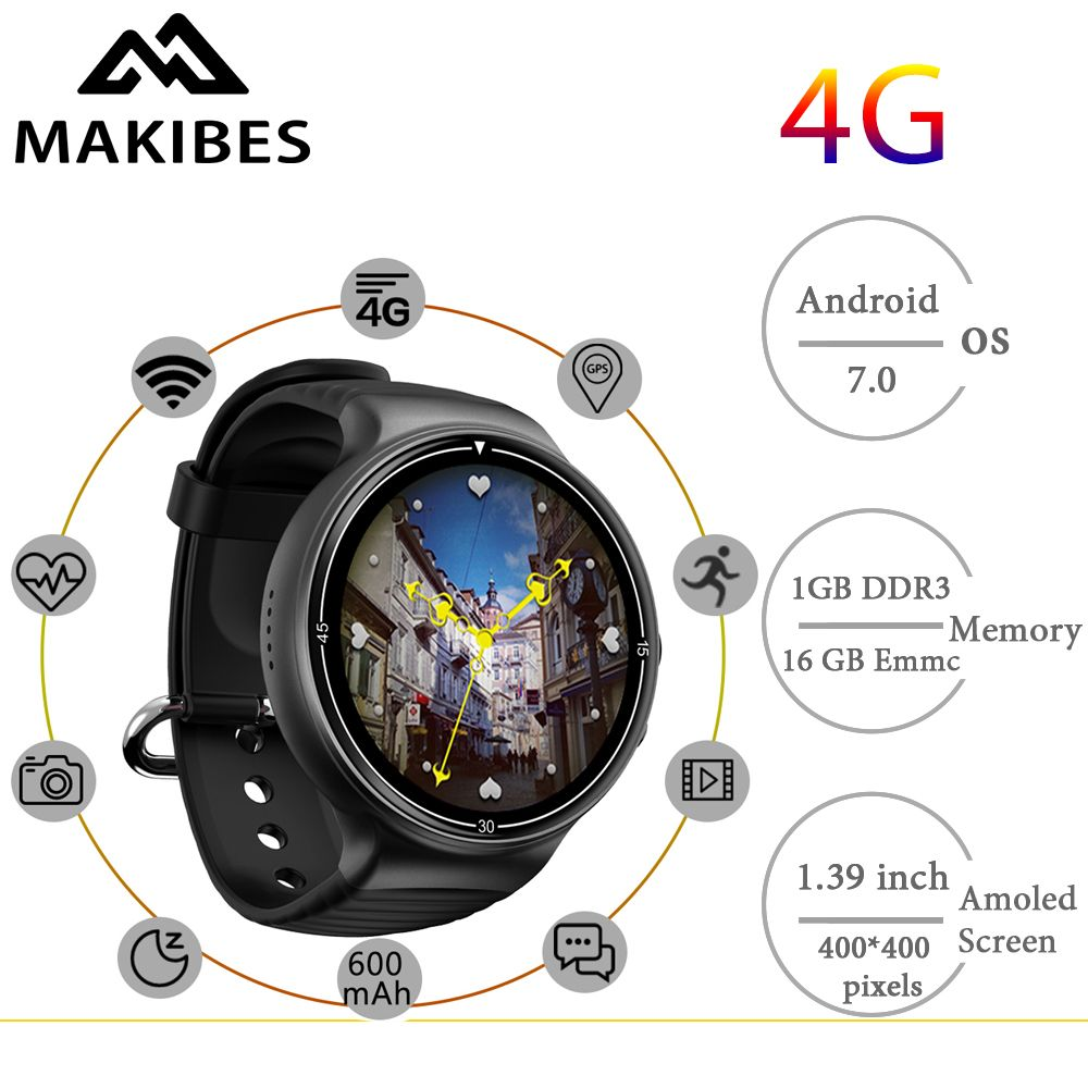 Free shipping Makibes MK02 Men's 4G Camera Smartwatch Phones 1MB+16GB GPS WiFi Pedometer Heart Rate Wristwatches Android 7.0 IOS