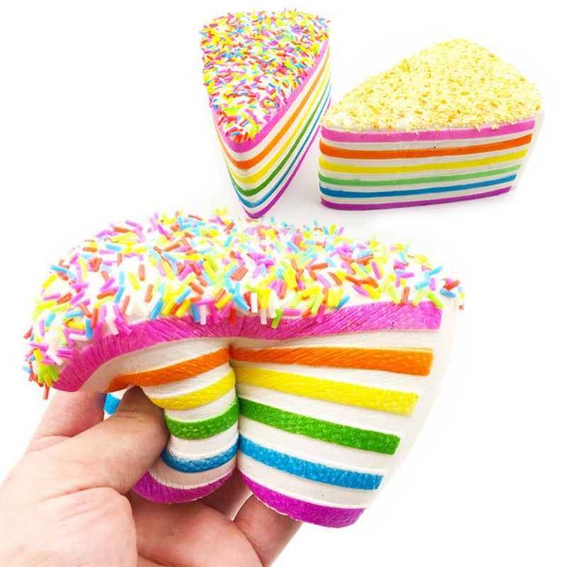 Best Deal 14x9x8cm for Squishy Rainbow Cake Simulation Super Slow Rising Fun Gift Toy Decoration Phone Straps Best Gift