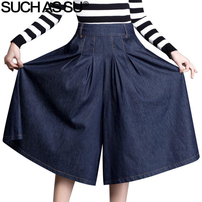 Denim bleu femmes pantalons à jambes larges 2018 printemps été Sexy mi-longues Culottes pantalons taille élastique grande taille femme pantalons amples