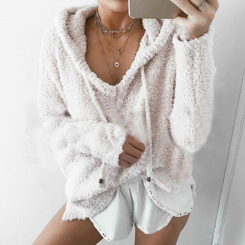 Otoño invierno Mujeres Sudaderas Con Capucha de Manga Larga Con Cordón Sólido Moda Cálida Capucha Jerseys Loose Casual Tops