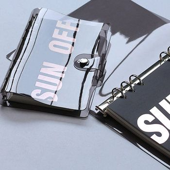 Yiwi Black PVC Transparent Spiral Agenda Traveler Journal Notebook School DIY 6 Holes Binder Diary Planner Cover A5 A6