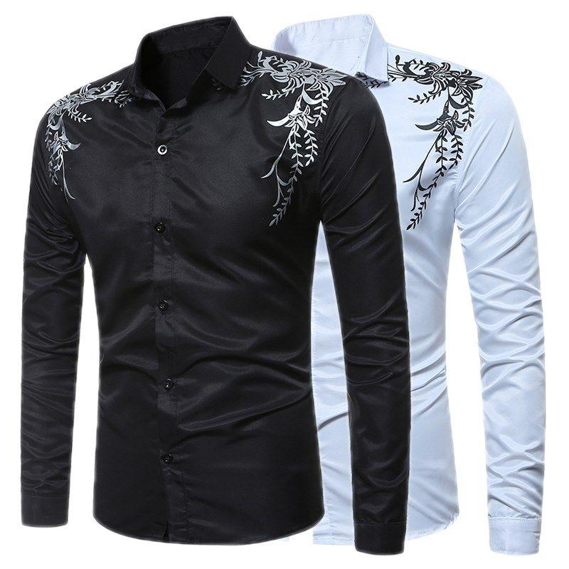 2018 New Autumn Fashion Brand <font><b>Men</b></font> Clothes Slim Fit Male Long Sleeve Shirt Print Casual Dress <font><b>Men</b></font> Shirts Social Plus Size M-3XL