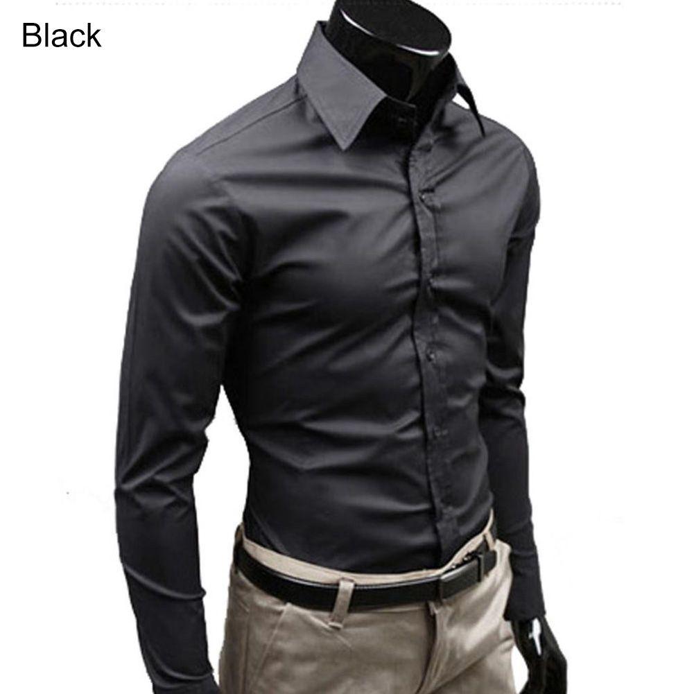 Männer Stilvolle Beiläufige Einfarbig Slim Fit Kleid Langarm-shirt Geschäfts Top