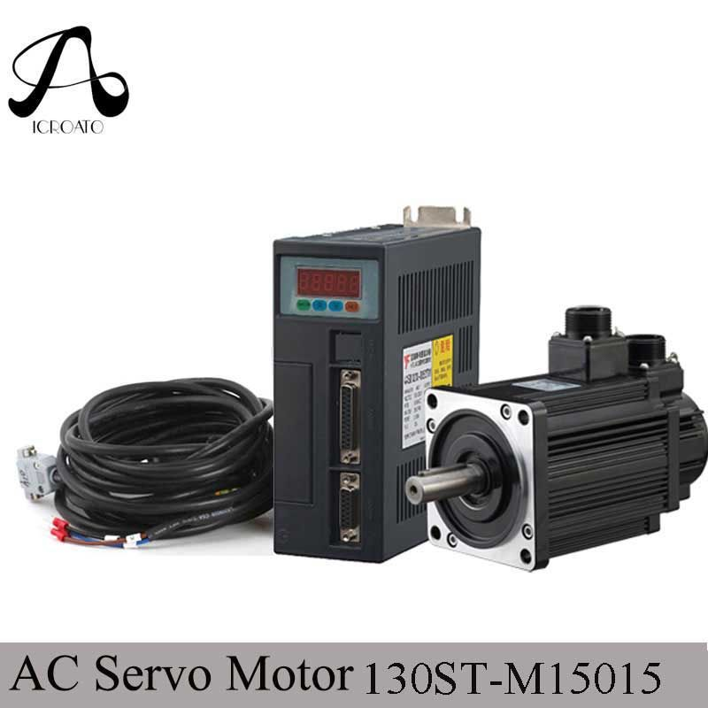 2.3KW 130ST-M15015 AC Servo motor 2300W 1500RPM 15N.M. Single-Phase ac drive permanent magnet Matched Driver AASD-30A