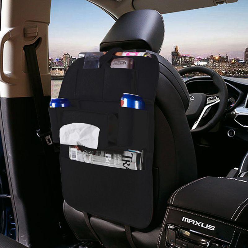 Sac de rangement de voyage multi-poches organisateur de rangement de siège arrière de voiture support de filet poubelle pour pochette de rangement de capacité automatique