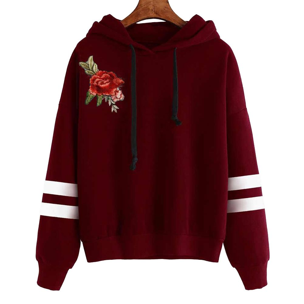 Giraffita Hoodies Rose Embroidery Autumn Winter Women Fashion Pullover Tracksuits Sweatshirt Long Sleeve Striped Hooded Tops