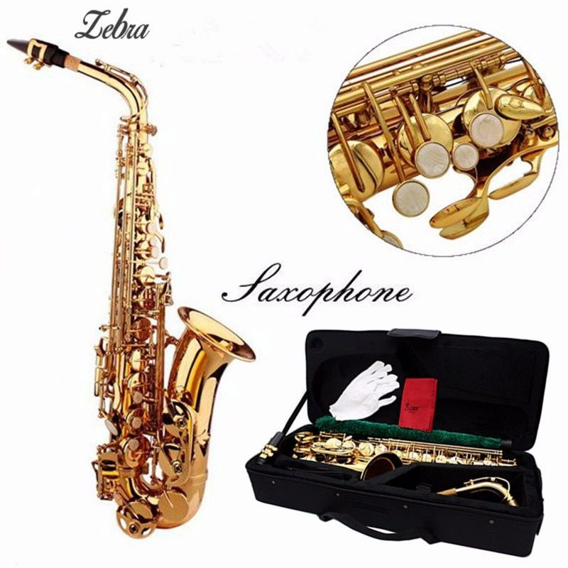 Zebra Paint Gold Alto Eb Golden Saxophone Sax With Case For Woodwind Mucical Instruments Lover Gift