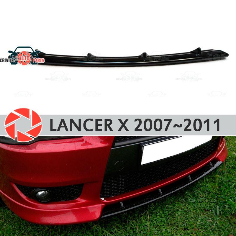 Zentrum einsatz auf frontschürze für Mitsubishi Lancer X 2007-2011 ABS kunststoff körper kit form dekoration auto styling tuning