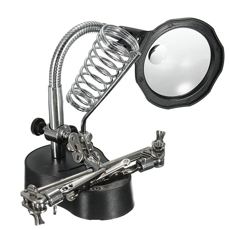 Hohe Qualität LED Clamp Lötkolben Ständer Helping Hands Lupe Lupe Schweißen Rework Reparatur Lötkolben Halter