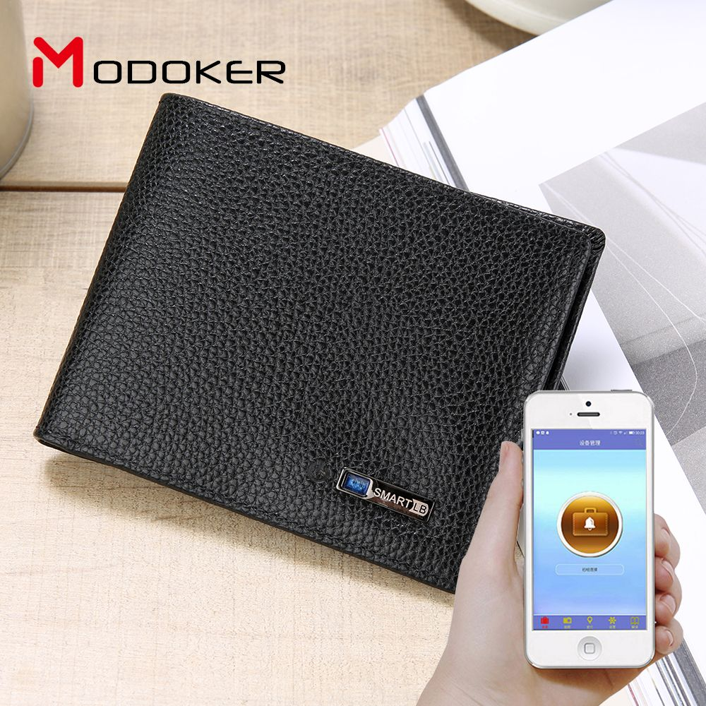 Genuine Leather Smart Wallet Tracker Bluetooth Connected with APP Anti Lost Anti Theft Selfie Men Wallet