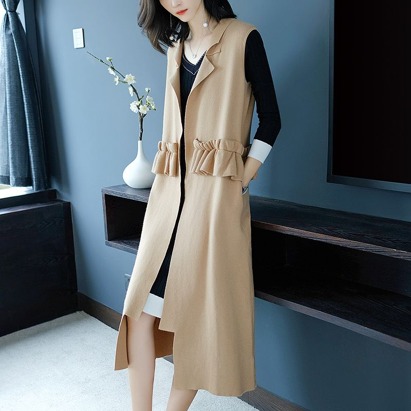 Autumn And Winter New Hotel Style Korean Version Sweater Women's Jacket Solid Color Long Sleeveless Knit Open Stitch Cardigan