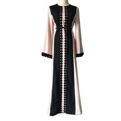 2017 vintage mujeres verano largo abaya manga suave vestido para kaftan islámica muslimturkish árabe Appliques real PIC