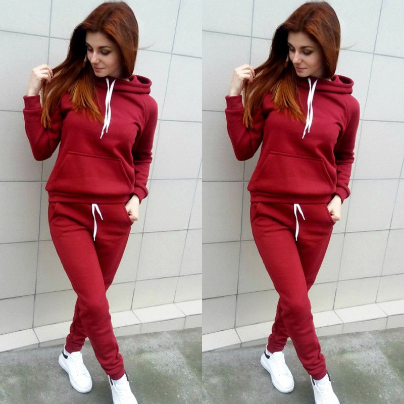 New Fashion Women 2pcs Tracksuit Long Pants &Casual Long Sleeve Hoodie Sweatshirt Stylish Womens Hoddies Sets