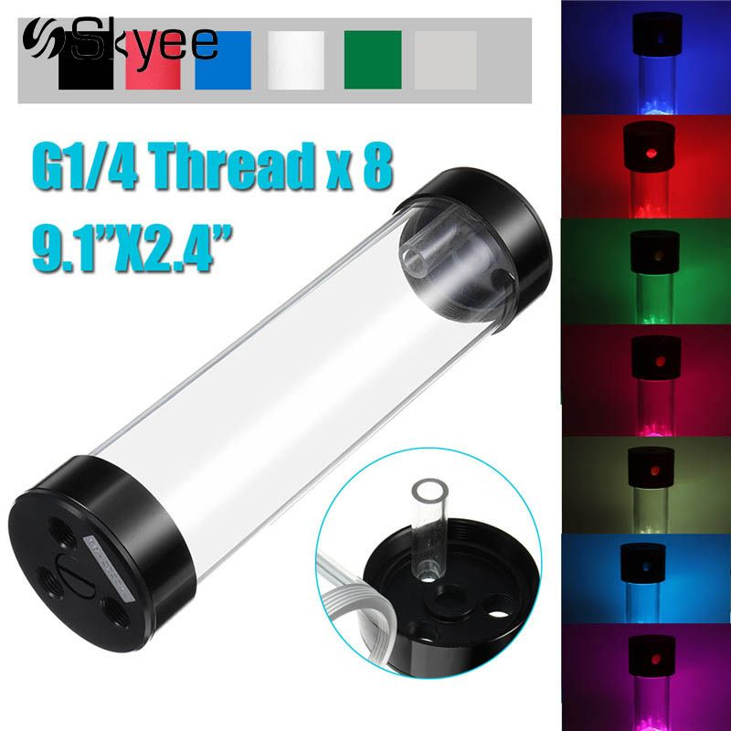 60x234mm Acrylic Aluminum Water Cooling Tank G1/4 Cylinder Water Cooling Reservoir for Computer CPU Support RGB Light Bar