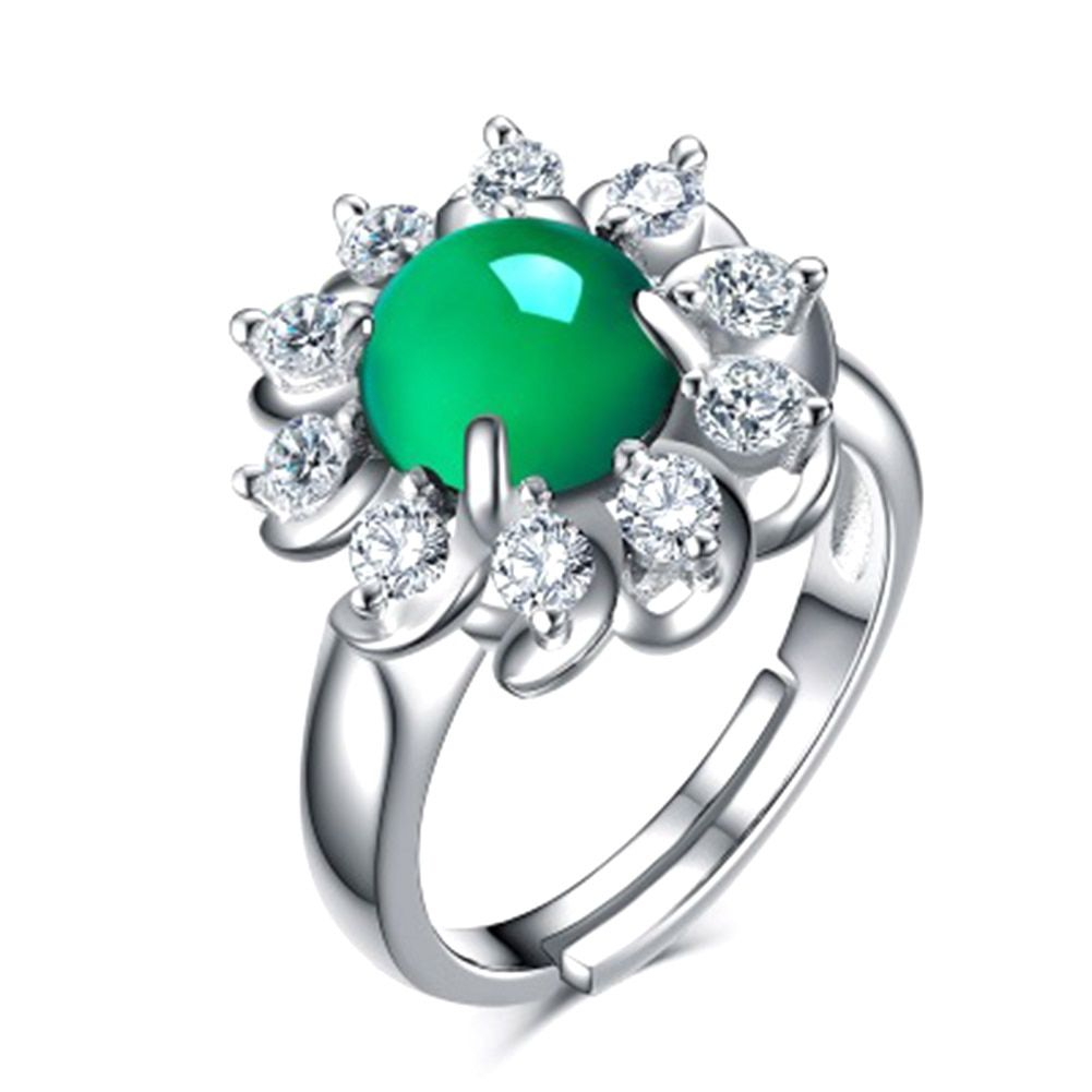 Charm Natural Green Chalcedony Open Ring Female Jewelry Personalized Fashion Finger Ring Lovers Gift