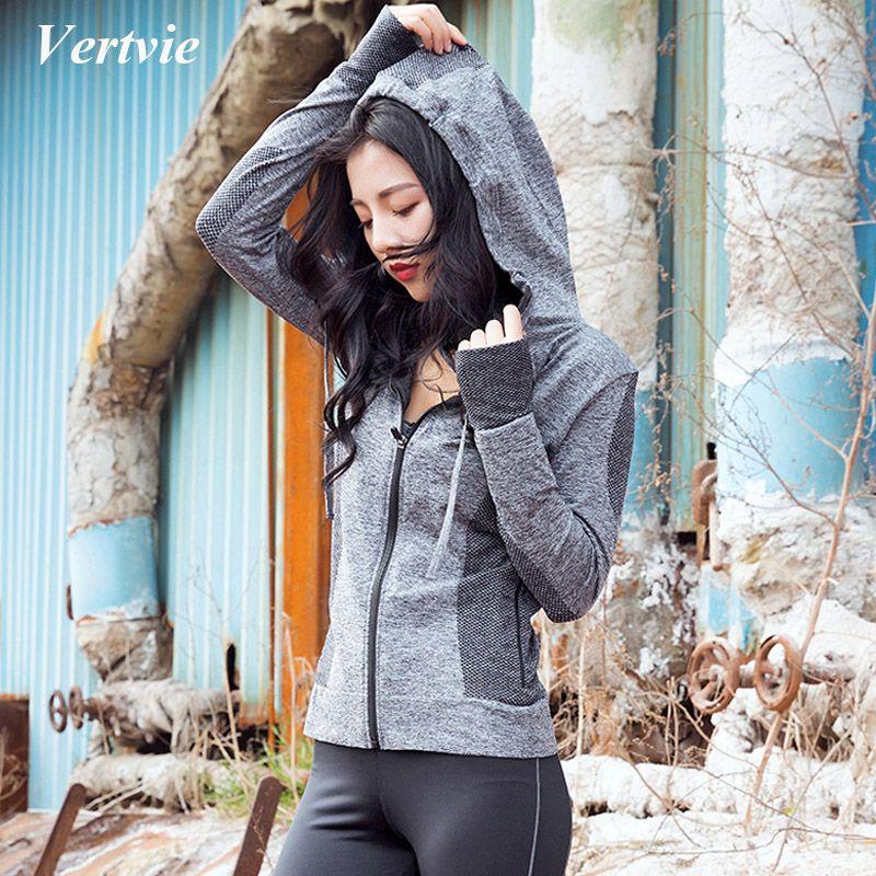 Vertvie 2018 New Hooded Running Sports Jacket Women Long Sleeve Zipper Fitness Hoodies Sweartshirt Quick Dry Gym Pullover Coat