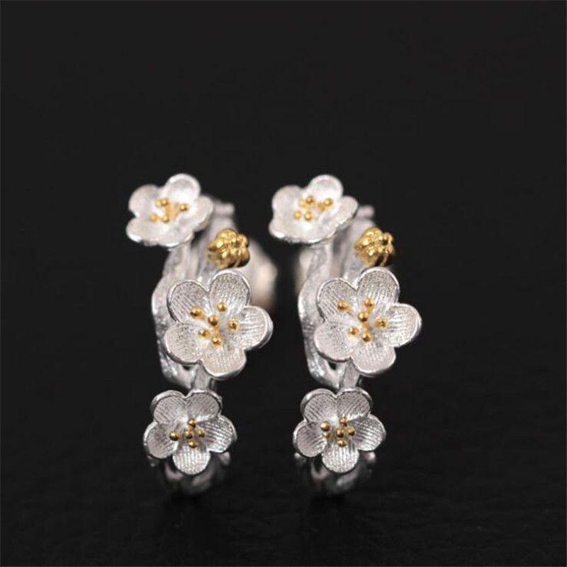 100% Réel 925 Sterling Argent Prune Fleur Boucles D'oreilles Pour Les Femmes Élégante Dame Empêchent Allergie Sterling-argent-bijoux PE189
